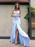 Pale Blue Simple Mermaid Slit Sleeveless prom Dresses ,PD00114