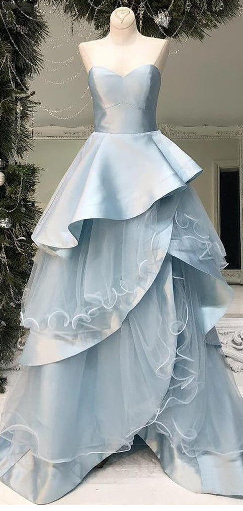 Pale Blue Tiered Ball Gown Sweetheart Strapless Prom Dresses ,PD00297