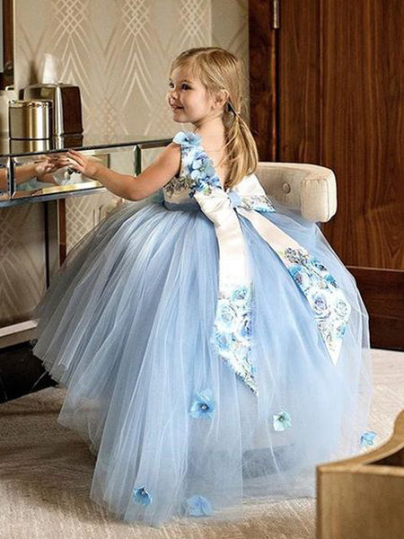 Pale Blue Tulle Floral Satin Bowknot Ball Gown Flower Girl Dresses, FGS138