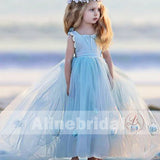 Pale Blue Tulle Handmade Flowers Sweet TUTU Flower Girl Dresses, FGS079