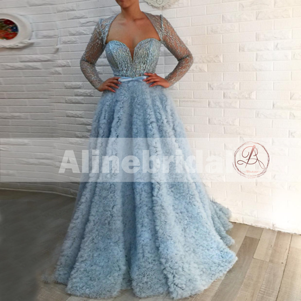 Pale Blue Unique Bottom Sweetheart Elegant Formal Party Prom Dresses With Sleeves ,PD00107