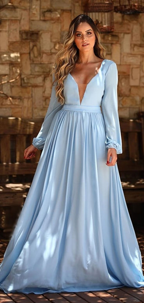 Pale Bule Satin Chiffon Long Sleeve A-line Prom Dresses,PD00348