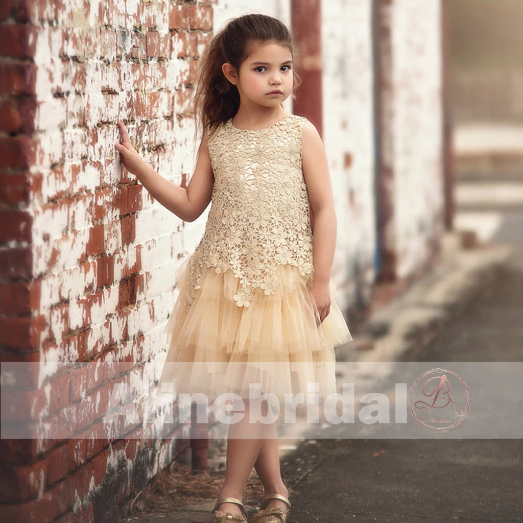 Pastel Yellow Floral Lace Tiered Flower Girl Dresses Fgs083