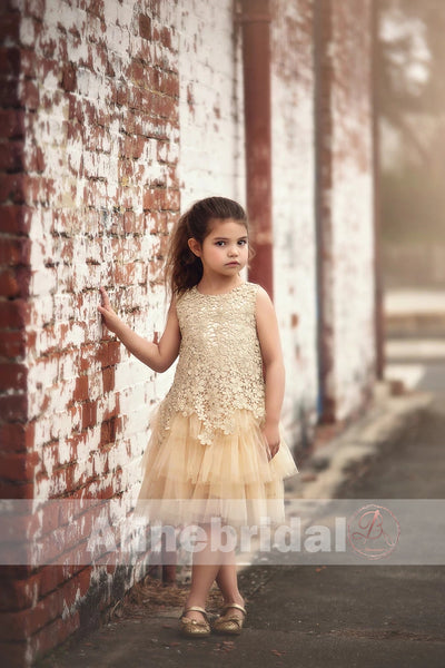 Pastel Yellow Floral Lace Tiered Flower Girl Dresses, FGS083