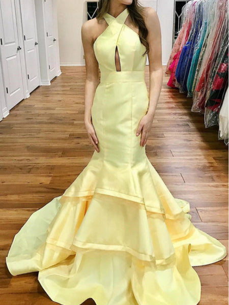 Pastel Yellow Satin Criss-cross Open Back Tiered Mermaid Prom Dresses,PD00378