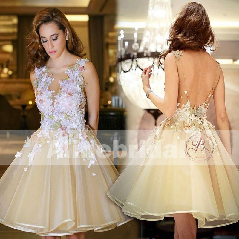 Pastel Yellow Sweet Flower Appliques Backless Sleeveless Homecoming Dresses,BD00226