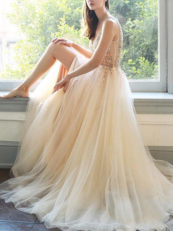 Pastel Yellow Tulle Beading V-neck Sleeveless Prom Dresses.PD00274
