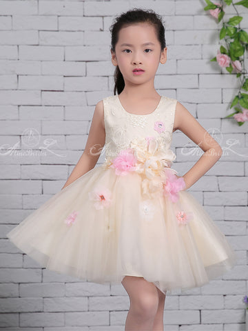 8a0f6877722 products Pastel Yellow Tulle Handmade Flower Scoop Neck Cute Flower Girl Dresses FGS132-1.jpg