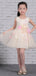 Pastel Yellow Tulle Handmade Flower Scoop Neck Cute Flower Girl Dresses, FGS132