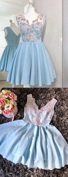Peach Lace Pale Blue Satin V-neck Sleeveless Homecoming Dresses,HD0063