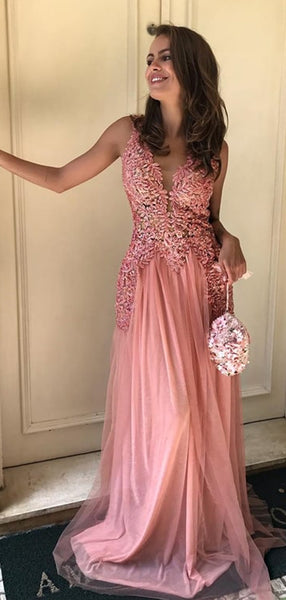 Peach Lace Tulle Sleeveless V-neck Long Prom Dresses,PD00381