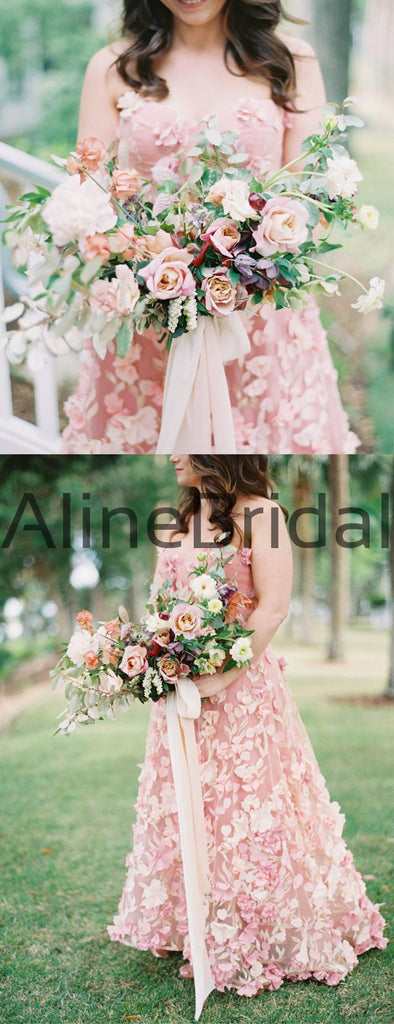 Pink 3D-Lace Sweetheart Strapless A-line Country Wedding Dresses, AB1550