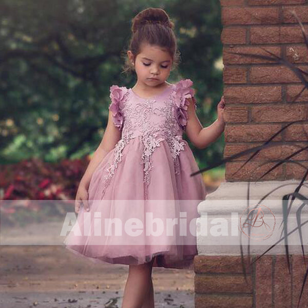 Pink Appliques Tulle Pretty Sleeveless Short Flower Girl Dresses , FGS074