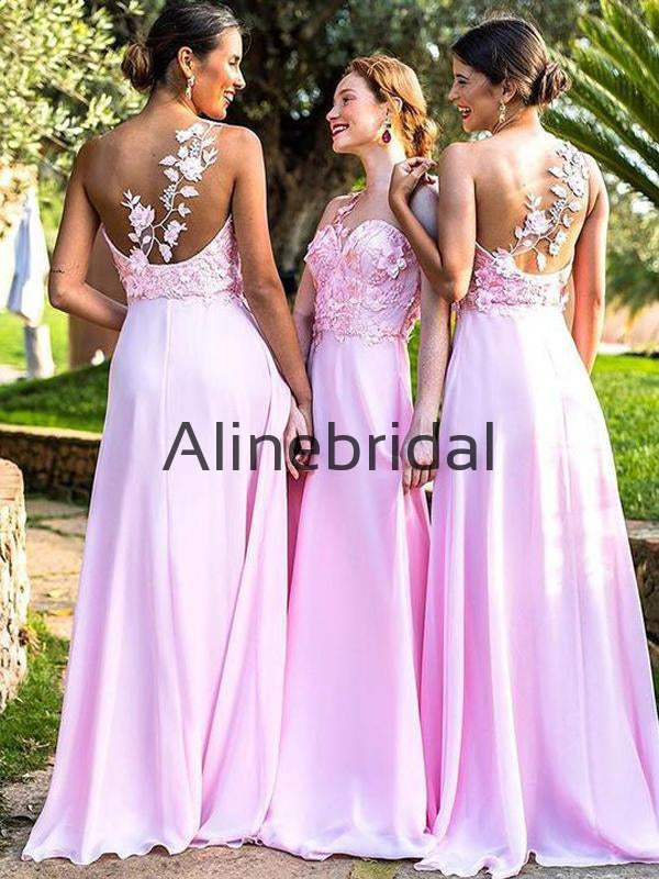 Pink Chiffon Applique One Shoulder Illusion A-line Long Bridesmaid Dresses , AB4073