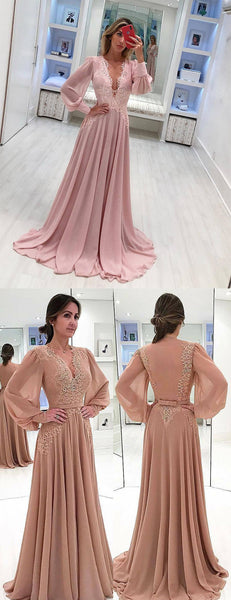 Pink Chiffon Long Sleeve Applique A-line Elegant Prom Dresses,PD00204