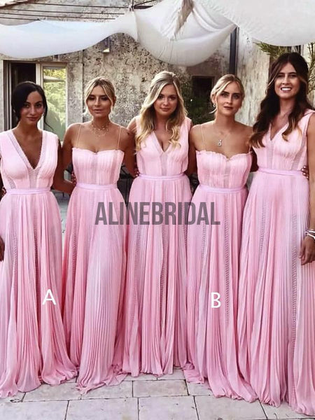 Pink Chiffon Mismatched Charming Fashion Long Bridesmaid Dresses, AB4022