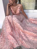 Pink Floral Lace Spaghetti Strap V-neck Prom Dresses.PD00250