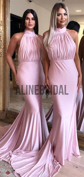 Pink Jersey Halter Backless Mermaid Birdesmaid Dresses, AB4016