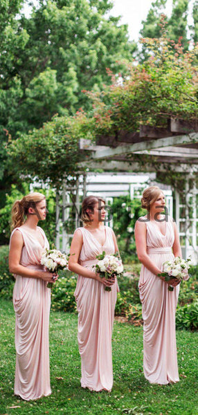 Pink Jersey V-neck Sleeveless Pleating Long Bridesmaid Dresses  , AB4124