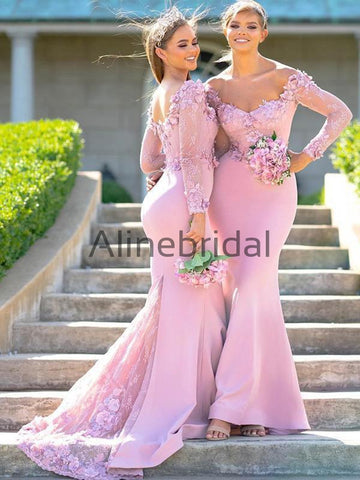 7e6a7a7b997 products Pink Lace Aplique Jersey Mermaid Long Sleeve Charming Bridesmaid Dresses AB4094-1.jpg