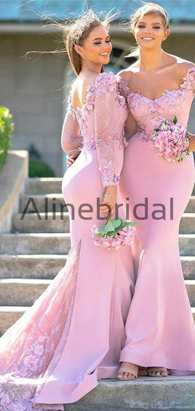 Pink Lace Aplique Jersey Mermaid Long Sleeve Charming Bridesmaid Dresses, AB4094