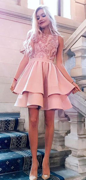 Pink Lace Applique Satin Tiered Homecoming Dresses,HD0071