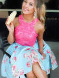 Pink Lace Blue Floral Satin Halter Homecoming Dresses,HD0037