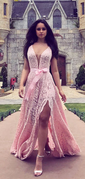 Pink Lace Deep V-neck With Slip Charming Prom Dresses,PD00375