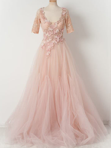 products/Pink_Lace_Handmade_Flowers_Beaded_Tulle_Half_Sleeves_Scoop_Neck_Prom_Dresses_PD00105-c1.jpg