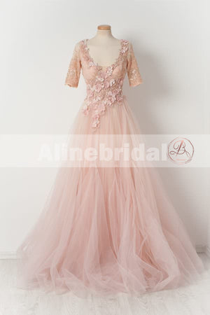 Pink Lace Handmade Flowers Beaded Tulle Half Sleeves Scoop Neck Prom Dresses,PD00105