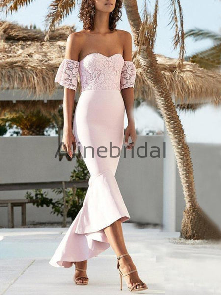 Pink Lace Off Shoulder Sweetheart Mermaid High Low Bridesmaid Dresses, AB4097