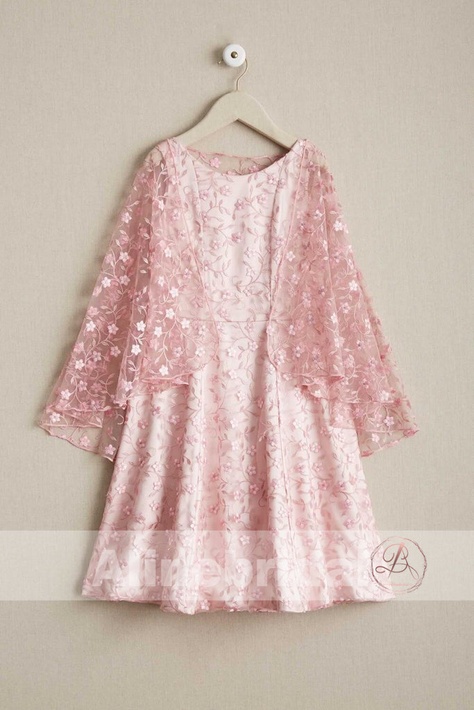 Pink Lace Round Neck With Unique Cape Flower Girl Dresses, FGS084