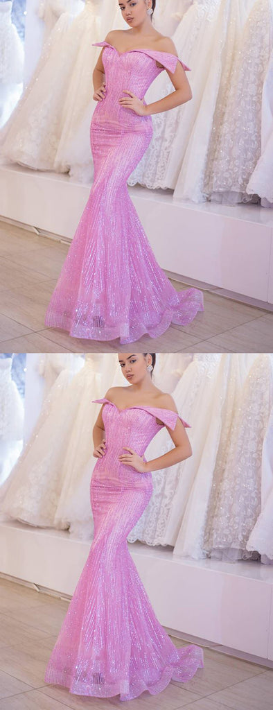 Pink Off Shoulder Mermaid Sequined Organza Charming Shiny Prom Dresses,PD00342