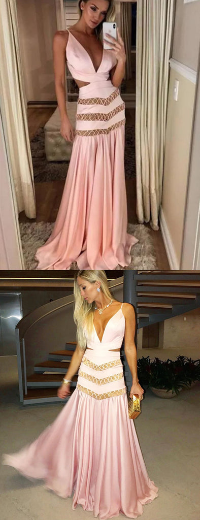 Pink Satin Chiffon Unique Open Back A-line Prom Dresses,PD00320