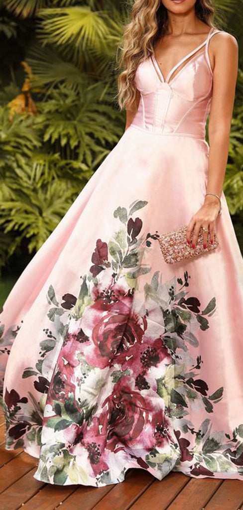 Pink Satin Floral Prints Spaghetti Strap A-line Prom Dresses .PD00272
