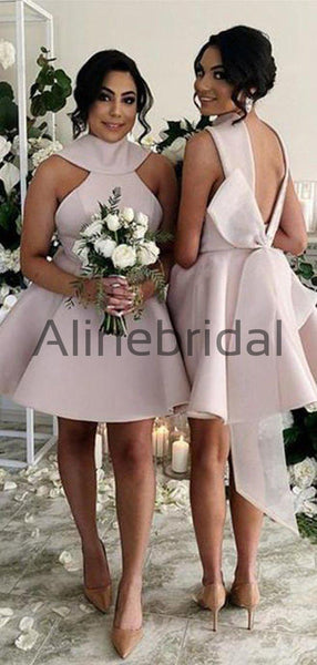 Pink Satin High Neck V-back With Bow Knot Short Bridesmaid Dresses, AB4079