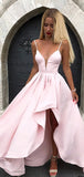 Pink Satin Spaghetti Strap High Low Simple Prom Dresses,PD00324