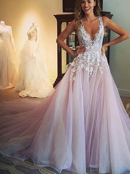 Pink Tulle Applique Sleeveless V-neck A-line Open Back Prom Dresses,PD0128