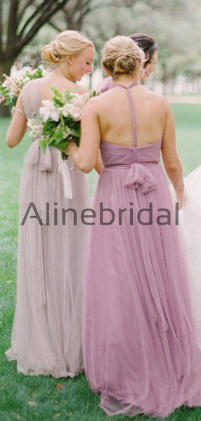 Pink Tulle Convertible Backless A-line Long Bridesmaid Dresses, AB4131