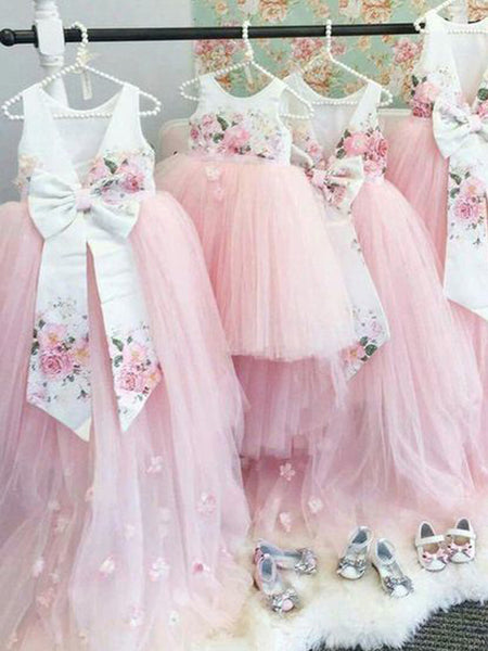 Pink Tulle Floral Satin Bowknot Ball Gown Flower Girl Dresses, FGS139