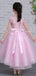 Pink Tulle Lace Applique High Low Gorgeous Flower Girl Dresses, FGS131
