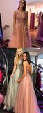 Pink Tulle Sequin Beads V-neck Backless Prom Dresses,PD00364