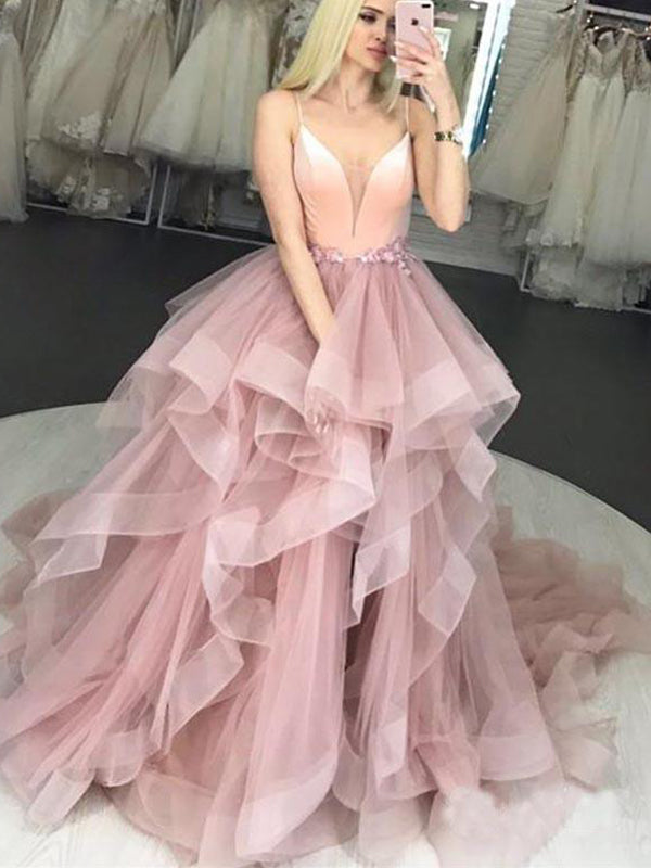 Pink Tulle Spaghetti Strap Ruffles Ball Gown Sweet-16 Prom Dresses,PD00333