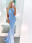 Mermaid Unique Blue Formal Prom Dresses PD1053