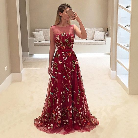 Popular Dark Red Floral Embroidery Sleeveless A-line Long  Prom Dresses ,PD00087