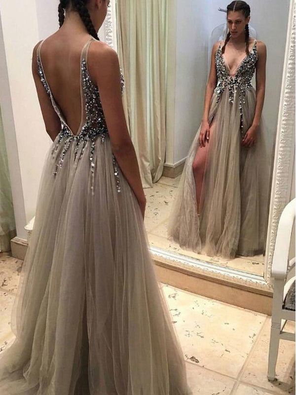 Popular Deep V-Neck Charming Cocktail Ball Gown Evening Long Prom Dresses For Curvy Girls Online,PD0185