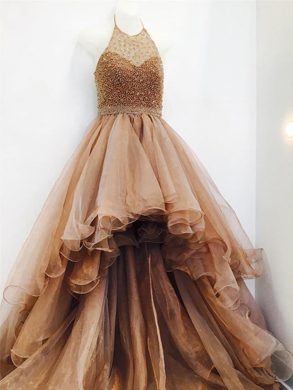 Popular High Low Brown Beaded Halter Ruffles Ball Gown Prom Dresses, PD00041