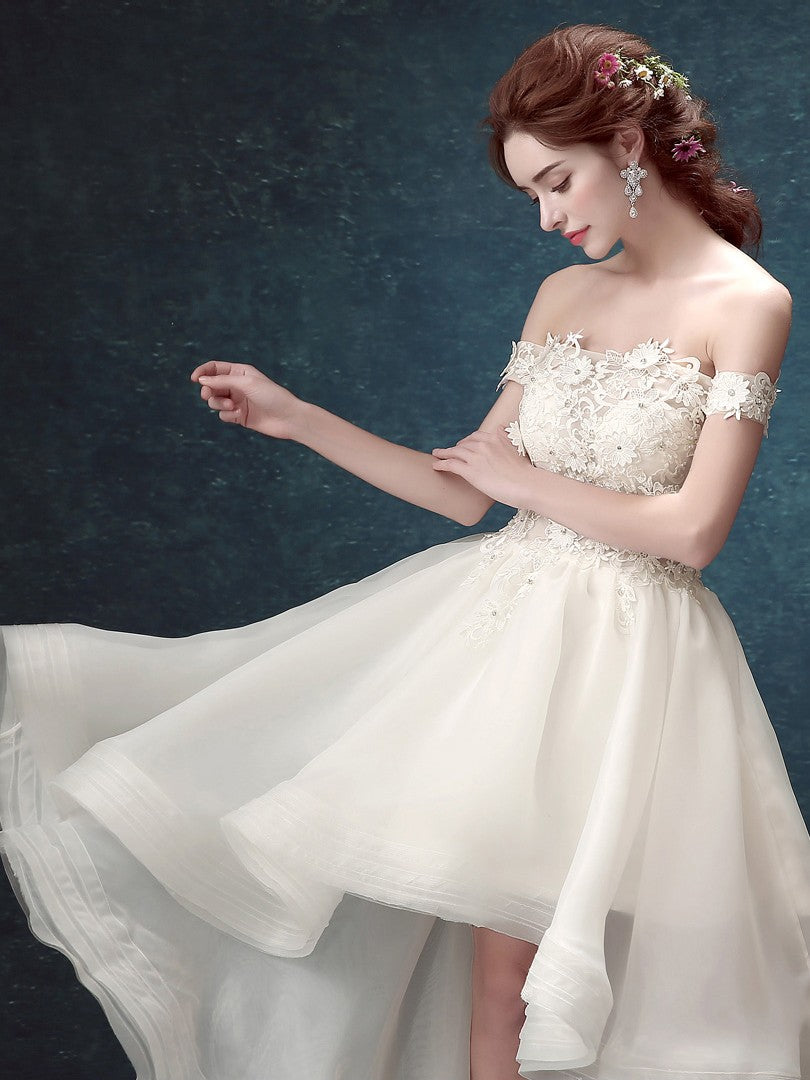 0b7bcd293ff627 Popular High Low Off Shoulder White Organza Cheap Cocktail Formal Prom –  AlineBridal