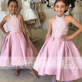 Popular High Low Pink Lace Satin Halter Flower Girl Dresses, FGS085