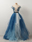 Popular Off Shoulder Appliques Gradient Blue Ball Gown Prom Dresses  ,PD00106